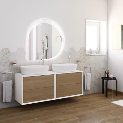 Mobile bagno Bellagio bianco e rovere L 141 cm
