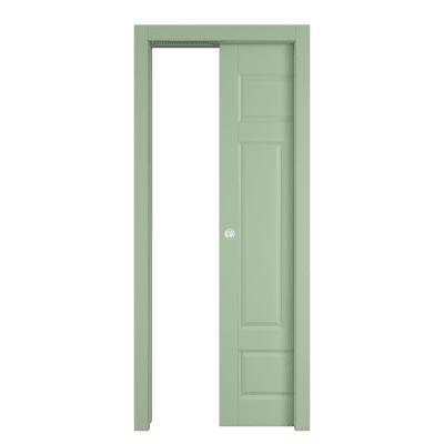 Porta scorrevole a scomparsa Coconut Groove verde L 80 x H 210 cm reversibile