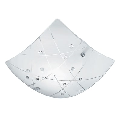 Plafoniera Domino bianco, in vetro, 40x40 cm, E27 2xMAX60W IP20