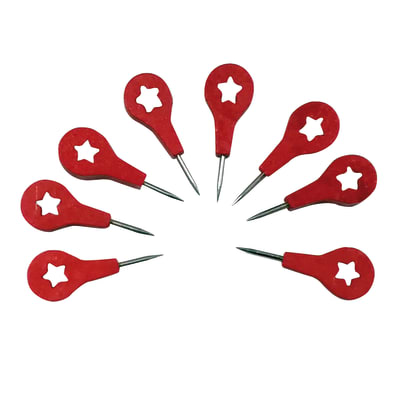Puntina Puntine map in acciaio / pvc rosso  e bianco 8 pezzi