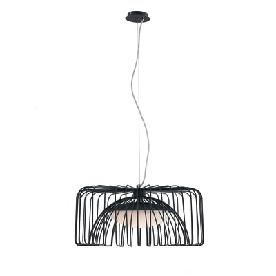 Lampadario Cougar nero, in metallo, diam. 50 cm,  LED 1 luce