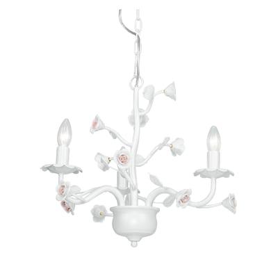 Lampadario Neoclassico Cupido bianco in metallo, L. 120 cm, 3 luci, FAN EUROPE
