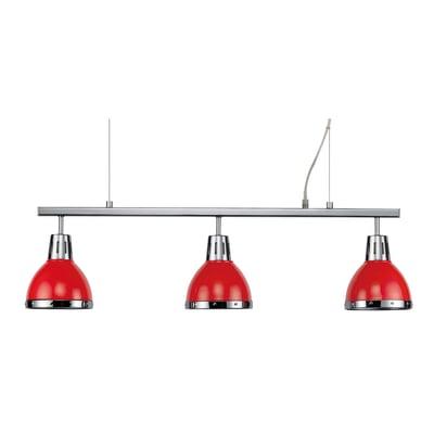 Lampadario Moderno Cynthia rosso in metallo, D. 80 cm, 3 luci, SEYNAVE
