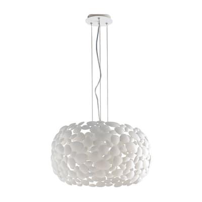 Lampadario Moderno Dioniso alluminio in metallo, D. 48 cm, L. 120 cm, 3 luci, FAN EUROPE