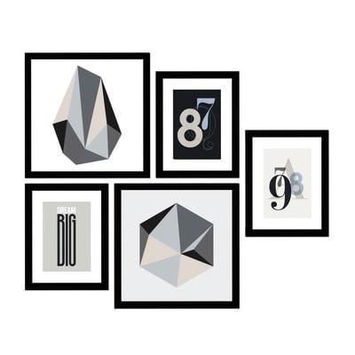 Quadro con cornice B&W 54x50 cm 5 pezzi
