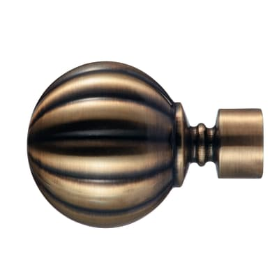 Finale per bastone Ø20mm Bran sfera in metallo anticato INSPIRE Set di 2 pezzi
