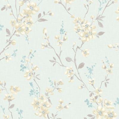 Carta da parati Ramage fiori azzurro chiaro