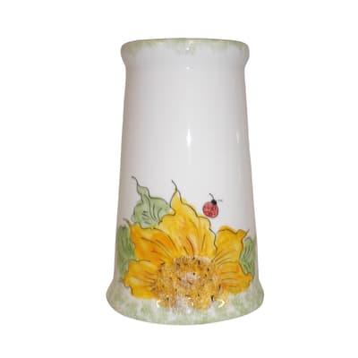 Porta scopino wc da appoggio Girasole in ceramica giallo