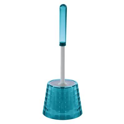 Porta scopino wc da appoggio Glady in plastica azzurro