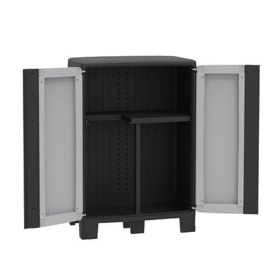 Armadio in resina Spaceo cool L 65 x P 39 x H 180 cm nero e grigio