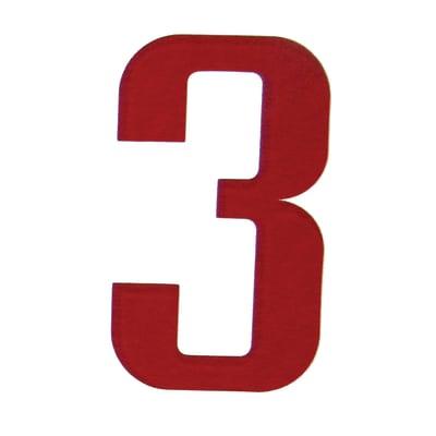 Numero 3 adesivo, 10 x 6 cm