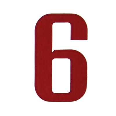 Numero 6 adesivo, 15 x 10 cm