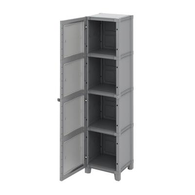Armadio xl in resina Modulize L 45 x P 40 x H 180 cm grigio antracite e grigio chiaro