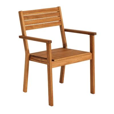 Sedia con braccioli senza cuscino in legno Porto NATERIAL colore marrone