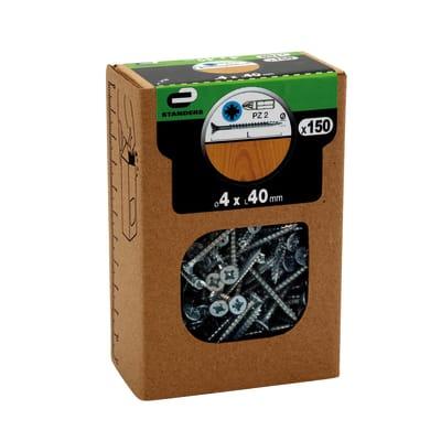 Vite per legno STANDERS impronta pozidriv testa fresata L 40 mm Ø 4 mm, 150 pezzi