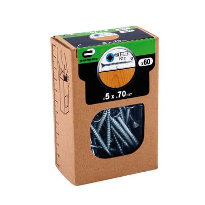 Vite per legno STANDERS impronta pozidriv testa fresata L 70 mm Ø 5 mm, 60 pezzi
