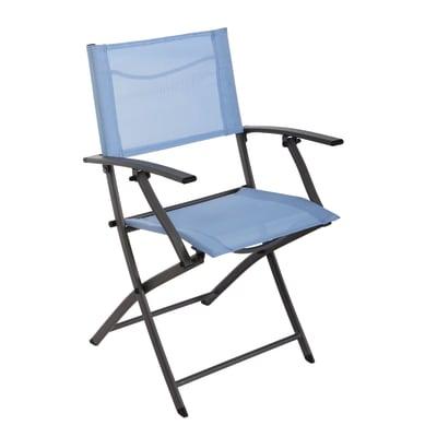 Sedia da giardino senza cuscino Denver NATERIAL colore azzurro
