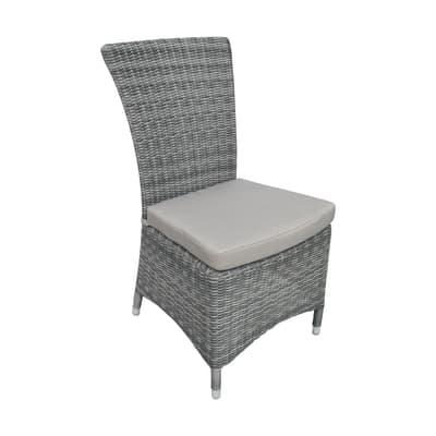 Sedia da giardino con cuscino  in alluminio colore grigio