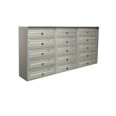 Casellario postale condominiale formato Rivista, argento metallizzato, L 116 x P 30 x H 63 cm