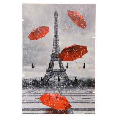 Bacheca portachiavi Tour Eiffel 7 ganci multicolore 200 x 10 mm x 30 cm
