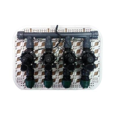 Elettrovalvola con regolatore di flusso RAIN Kit griglia premontato da 4 raccordi 24 V