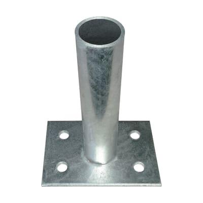Supporto per palo FERRO BULLONI Supporto per palo medium tondo in acciaio galvanizzato da fissare grigio L 10x H 21
