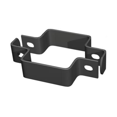 Collare di fissaggio in acciaio galvanizzato plastificato Collare quadro doppio L 11 x P 4.5 x H 3.5 cm