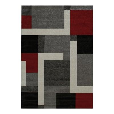 Tappeto Casa grey riquadri multicolor 230x160 cm