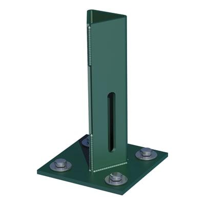 Supporto per palo FERRO BULLONI   in acciaio galvanizzato plastificato da fissare verde L 100x H 15