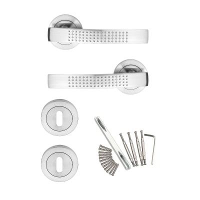 Maniglia con rosetta e bocchetta INSPIRE Louna in acciaio inossidabile spazzolato
