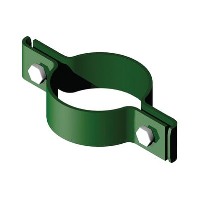 Collare di fissaggio in acciaio galvanizzato plastificato Collare tondo doppio L 12 x P 12 x x H 2.5 cm
