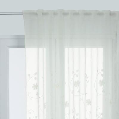 Tenda INSPIRE Brode floral bianco fettuccia con passanti nascosti 140 x 280 cm