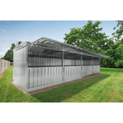 Chiosco in metallo Daikiri 4 ribalte c/mensole,  superficie interna 25.55 m² e spessore parete 0.4 mm