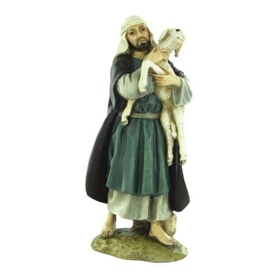 Pastore con pecora in resina  H 10 cm