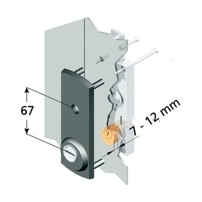 Serratura per porta garage PLACCA PROT. SERR. BASC. CIL. TONDO L 190 x H  710 mm interasse 150 mm