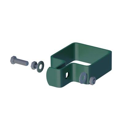 Collare di fissaggio in acciaio galvanizzato plastificato Collare quadro semplice L 9 x P 5.5 x H 3.5 cm