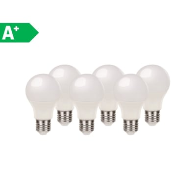 Lampadina LED E27 standard bianco naturale 8.5W = 806LM (equiv 60W) 220° LEXMAN, 6 pezzi