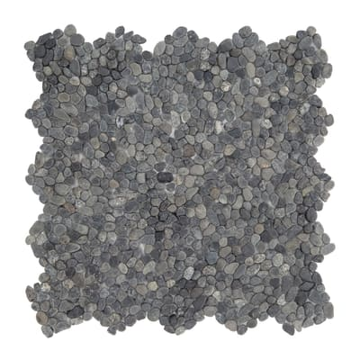 Piastrella decorativa Microsasso H 30 x L 30 cm nero