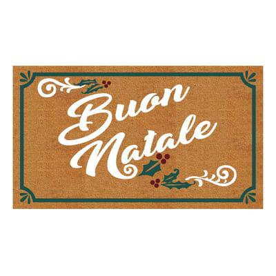 Zerbino Buon natale in cocco multicolor 40x70 cm