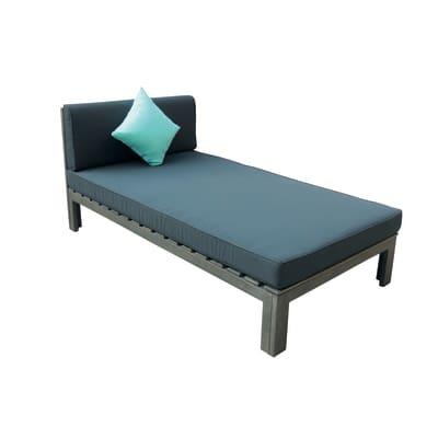 Lettino con cuscino in legno Maui grigio / argento L 159.5 x H 84 cm