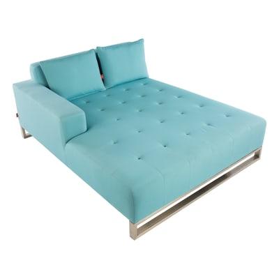 Chaise longue in acciaio inossidabile doppia Luxor colore azzurro