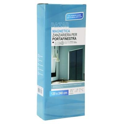 Tenda zanzariera magnetica a pannelli L 120 x H 240 cm nero