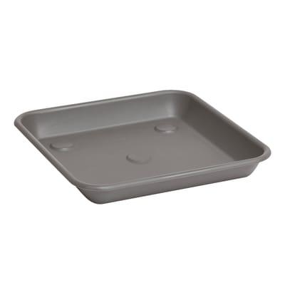 Sottovaso in plastica colore grigio antracite P 25 x L 25 cm