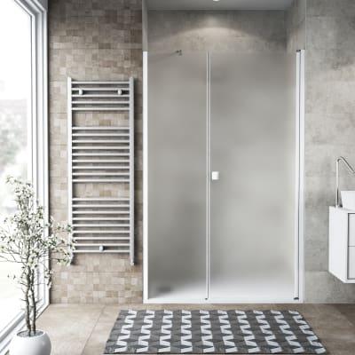 Box doccia battente 120 x 80 cm, H 200 cm in vetro, spessore 6 mm spazzolato bianco