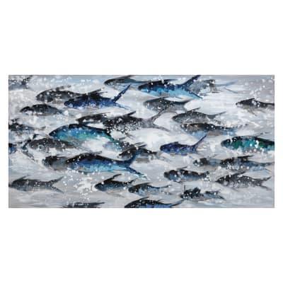 Quadro dipinto a mano Pesci Azzurri 120x60 cm