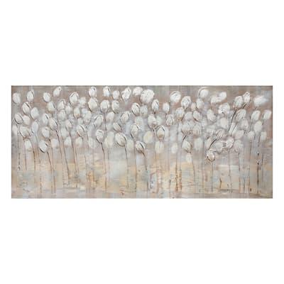 Quadro dipinto a mano Tulipani Bianchi 150x65 cm