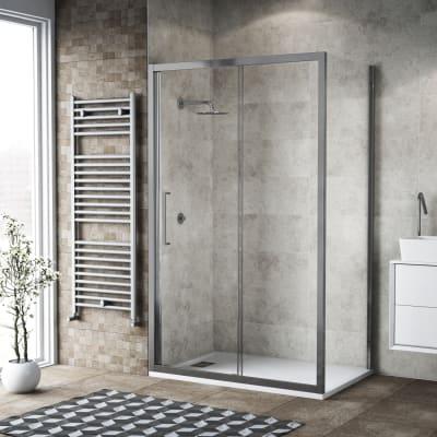 Box doccia scorrevole 125 x 80 cm, H 195 cm in vetro, spessore 6 mm trasparente argento