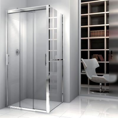 Porta doccia 3 ante scorrevoli Elyt , H 190 cm in vetro temprato, spessore 6 mm trasparente grigio