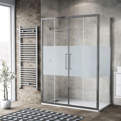 Box doccia scorrevole 180 x 80 cm, H 195 cm in vetro, spessore 6 mm serigrafato argento