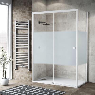 Box doccia scorrevole 160 x 80 cm, H 200 cm in vetro, spessore 6 mm serigrafato bianco